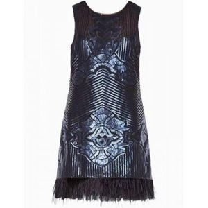 BCBGMaxAzria Catherine Sequin Feather dress NWOT